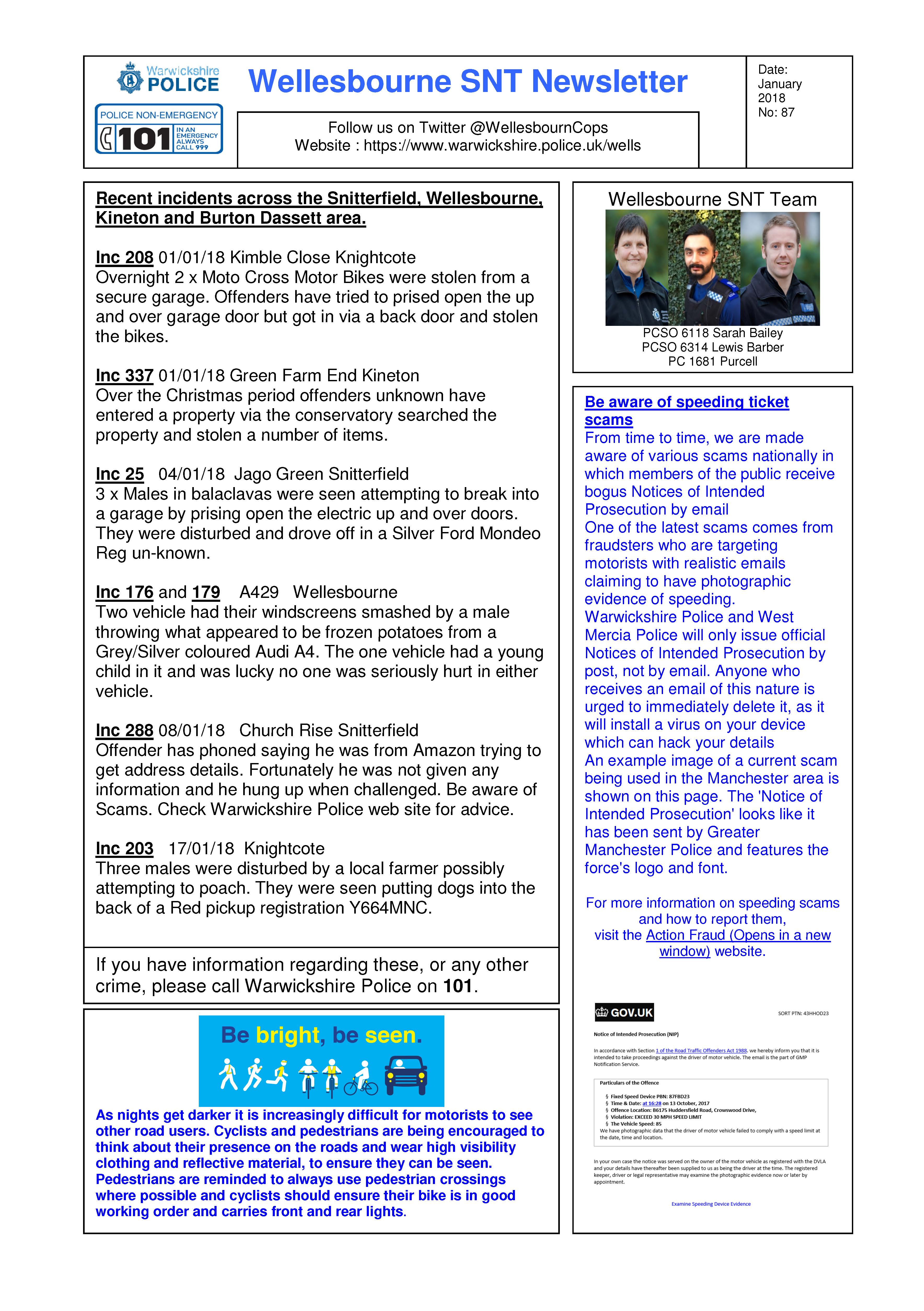 Wellesbourne SNT January 18 Newsletter